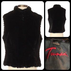 Tsunami Black Faux Fur Vest Jacket Zipper S NWOT